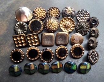 Black Czech Glass Buttons,Antique Czech Buttons,Czech Flower Buttons,Fashion Glass Buttons,Collectible Glass Buttons,Floral Black Buttons