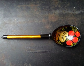 Russian Wooden Spoon,Hand Painted Wood Spoon,Khokhloma Wooden Spoon,Russian Collectible Spoon,Floral Design Spoon,Handmade Spoons