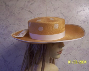 Country Casuals Fabulous Authentic Vintage  Golden /Cream Formal/Special Occasion  Hat