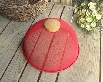 Wire Food Cover - Red Metal Dome - Vintage Cheese Cover - Food Cloche  - Wood and Metal - Food Screen - Food Protector - Industrial Kitchen