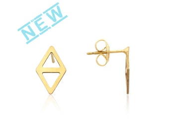 Triangle stud earrings, Gold Stud Earrings, Rhombus Post Earrings, Geometric Earrings, 1 Pairs, Laser Cut Jewelry, Wholesale stud Earrings