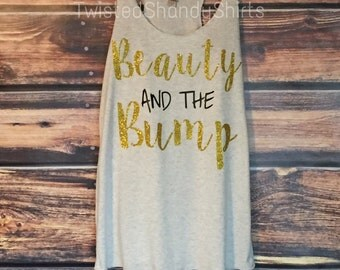 Beauty and the Bump | Customize | Maternity | Pregnancy | Baby Bump | Beauty and the Beast | Tank, VNeck, OR Long Sleeve