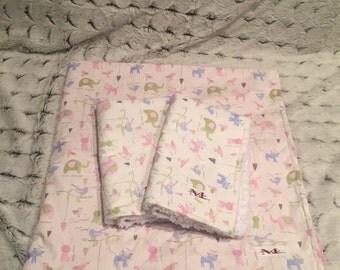 Minky blanket & matching burp rags