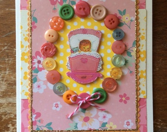 Congratulations Baby Girl Card  * Baby Shower Card * Welcome Baby Girl * Mother to Be Card * New Grandparent Card * Its a Girl *CardsinStock