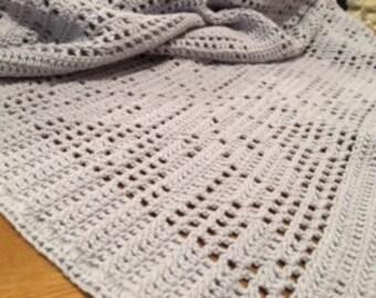 Crochet Grey Filet Baby Blanket