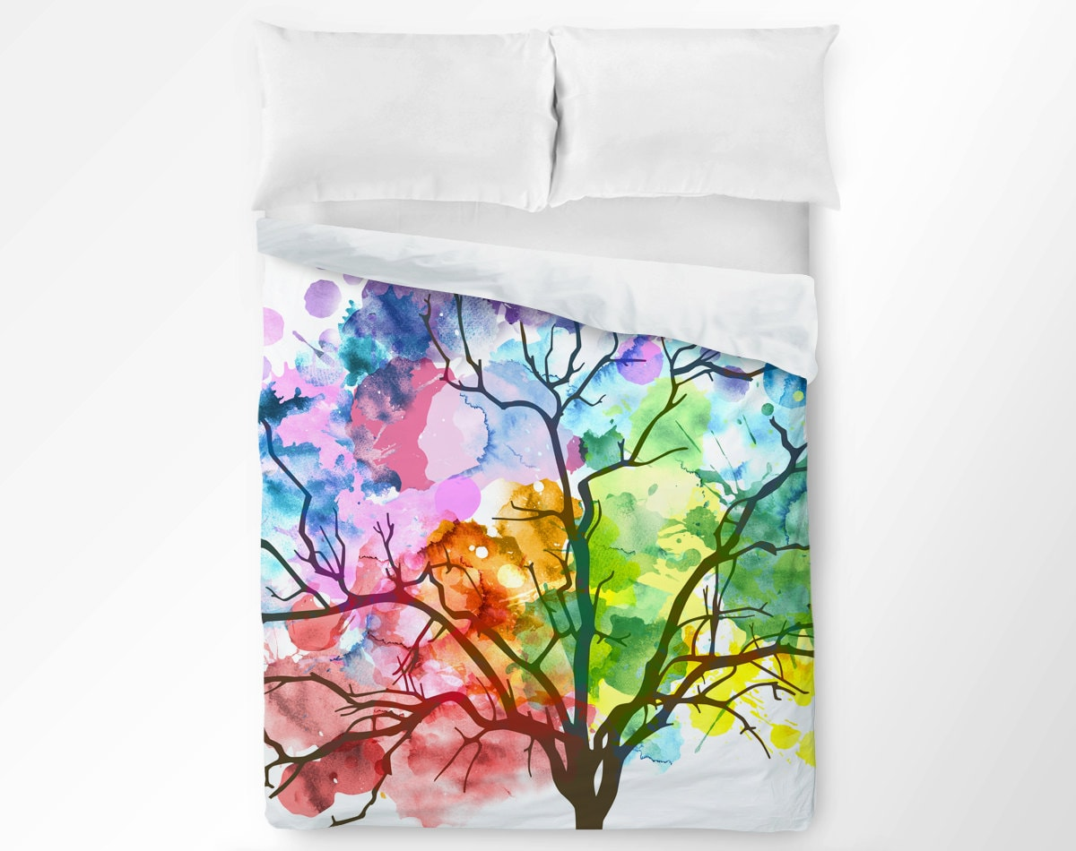 Tree Duvet Cover Watercolor Duvet Rainbow Duvet Cover