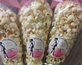 X20 filled Popcorn cones with sticker personalised baby shower favour gift game