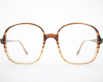Vintage Eyeglass Frame | Oversized Clear Amber Stripe | Round 80s Glasses Frames | Vintage Deadstock | Nerd Glasses  - Oxford 2
