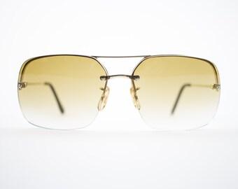 70s Vintage Sunglasses | Gold Aviator Sunglasses | Amber Gradient Lenses | 1970s Sunglasses | Vintage Deadstock - Jamaica Gold XX