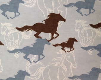 One Half Yard of Fabric Material - Running Horses FLANNEL