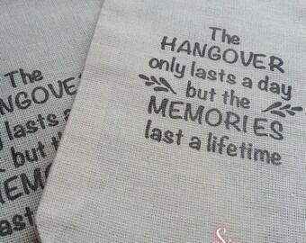 10 x Hangover Kit Memories Muslin Favour Bags