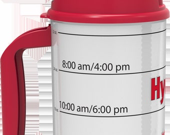 RED Hydr-8 32 ounce water bottle with time-trackable goals.  Air Insulated to keep water cold