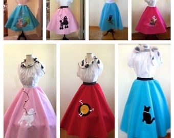 P1250  Custom Made To Order Poodle Skirt in Various Colors and Motifs