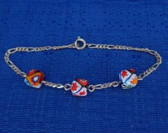 Sterling Silver Floral Milliefiori Bracelet, Sterling Silver Figaro Bracelet, Sterling Silver Flower Bead Bracelet