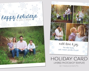 Holiday Card Template - 5x7 - Front and Back - Christmas - Snowflakes - Family - Greeting Card