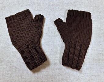 Organic Arm Warmers for toddlers, dark brown, wool merino, handknittes fingerless gloves