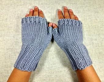 Organic Fingerless Gloves for Kids, Mittens, gray, 4 to 6 years, Wool Merino,