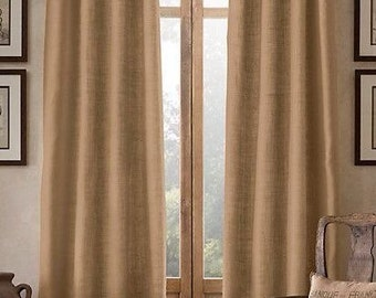 Spa Blue Burlap Curtains & Valances Made to Order by DRAPERYSHOP