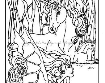 COLORING BOOK - five PAGES on 140 lb watercolor paper, fantasy, pegasus, unicorns, maiden, fairy horse, fairy,  flowers, original art,