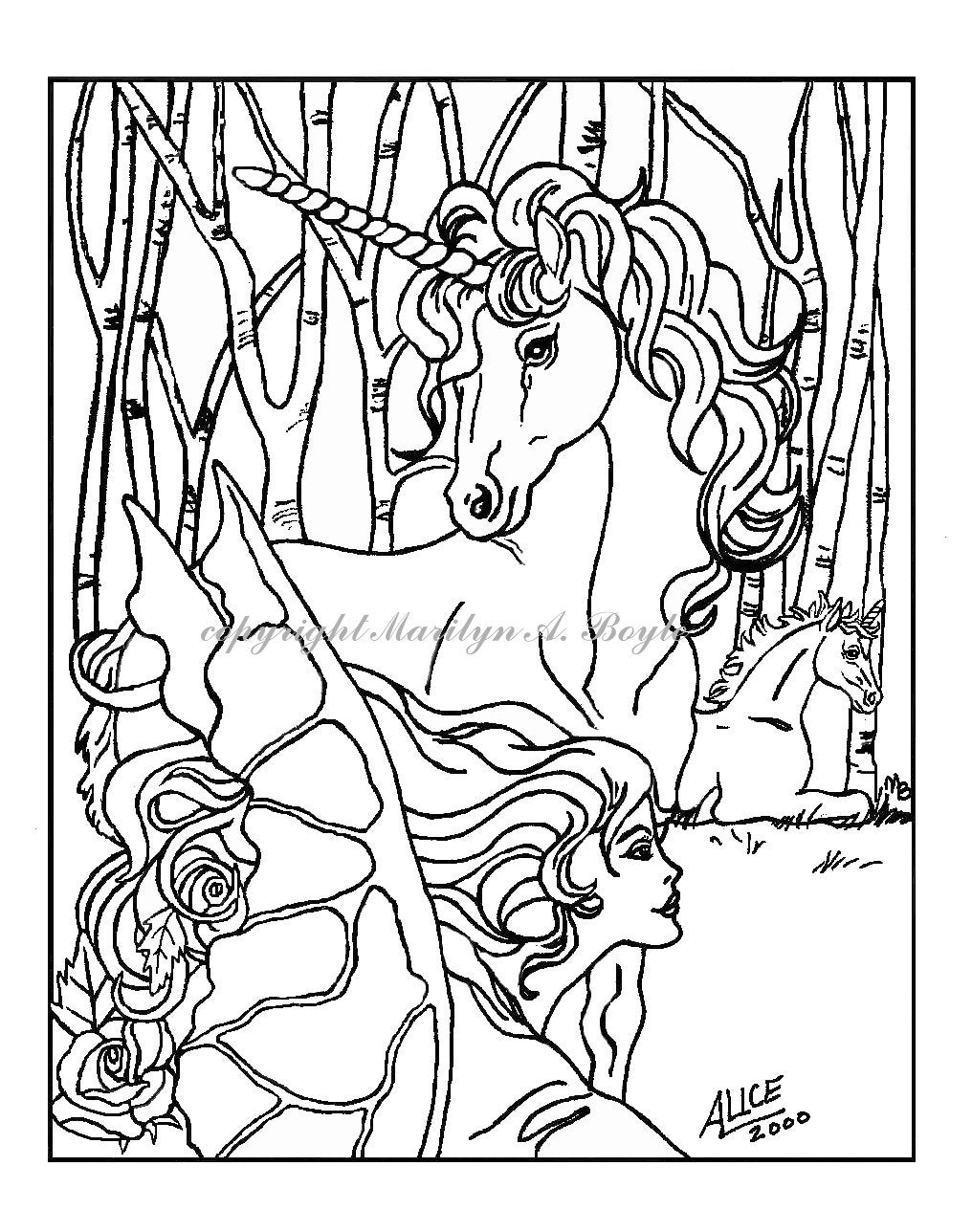 Watercolor paper coloring book - Coloring Book Five Pages On 140 Lb Watercolor Paper Fantasy Pegasus Unicorns Maiden Fairy Horse Fairy Flowers Original Art