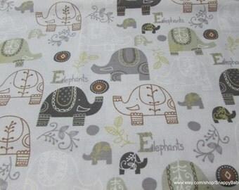 Flannel Fabric - Baby Elephants Print - 1 yard - 100% Cotton Flannel