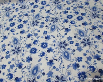 Flannel Fabric - Princess Blue Paisley on white - By the yard - 100% Cotton Flannel