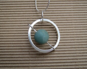 Sterling silver and amazonite 'Planet' kinetic pendant