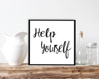 Help Yourself Printable, Help Yourself Bed and Breakfast, Coffee Bar Print, Typography Print, Kitchen Wall Art