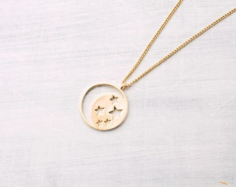 moon and star necklace gilded