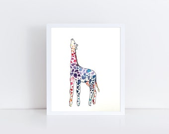Giraffe Watercolor and Ink Painting (Print