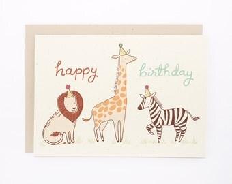 Birthday Card - Safari Animals