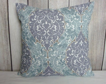 Throw Pillow. Pillow Cover. Amethyst Pillow. Blue Grey Pillow. Grey Lavender Pillow