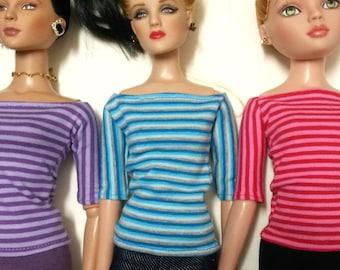 "Ellowynne,Tyler,Similar 16"" Fashion Dolls. Off Shoulder 1/2 Sleeve Top. 3 Colours to Choose"