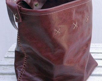 The Bucket Bag - (brown) 100% leather tote, snap closure, hand-stitched