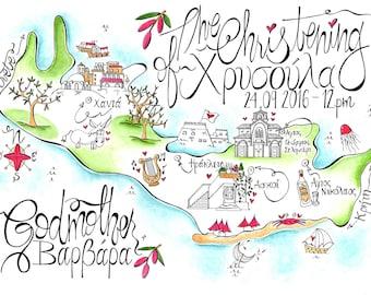 Greek Wedding Invitation/ Crete Map/ Wedding Map