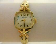 vintage ladies bulova watch, gold tone watch, swiss watch, retro watch