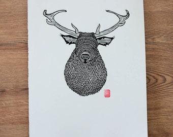 Stag Lino Cut / Block Print
