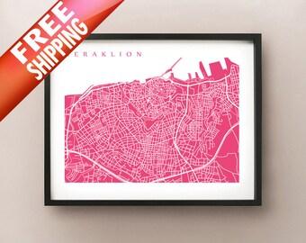 Heraklion, Greece Map Print - Irákleio Art Poster - Ηράκλειο