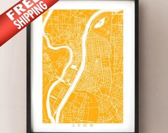 Lyon Map Print - France Art Poster