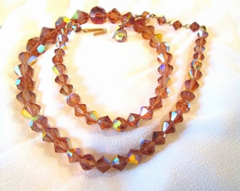 50's Amber Single Strand Aurora Borealis Crystal Necklace