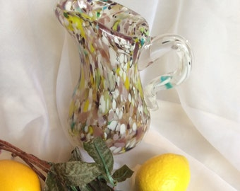 Small Hand Blown Glass Pitcher.  Charming Multicolor Glass Pitcher.