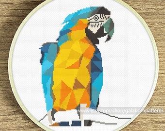 Macaw cross stitch, Geometric cross stitch pattern, Modern cross stitch, xstitch pattern, Animals birds cross stitch