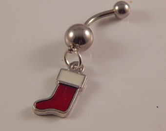 Christmas Stocking Belly Ring - unique, one of a kind navel jewelry, body piercing holiday charm, unique gift idea for teen, college student