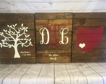 Custom Monogram wooden pallet sign- rustic sign- Custom Est sign- Personalized pallet monogram, State sign with heart, Family tree est sign