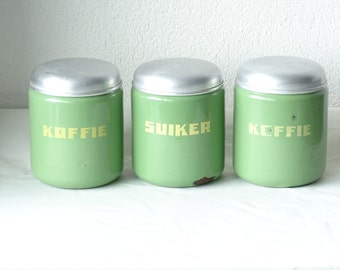 Enamel Coffee and Sucre Canisters, Enamel Storage Jars
