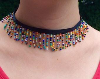 Rainbow seedbead choker necklace on satin ribbon hippie boho gypsy love beach