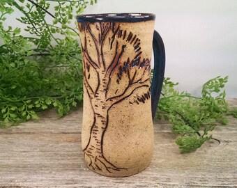 16 oz Bright Blue Birch Tree Mug - Wheel Thrown and Hand Sculpted Coffee Cup