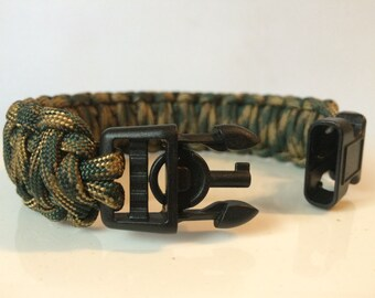 SALE! Camo Military Police Tactical King Cobra Paracord Survival Bracelet with Handcuff Key Buckle (See description for size suggestion)