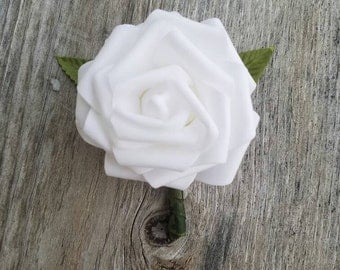 White rose and green camo ribbon Boutonnieres, Wedding Boutonniere, green camo boutonniere, country boutonniere, rustic boutonniere