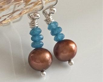 Chocolate Fresh Water Pearl Earrings / Copper Fresh Water Pearls / Small Pearl Earrings / Blue and Brown Earrings / Sterling Silver